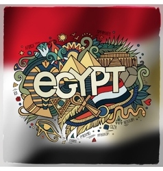 Egypt country hand lettering and doodles elements vector