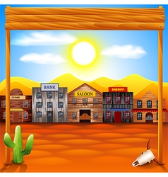 Wild west town panorama background vector