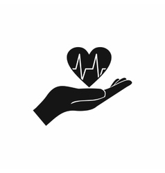 Hand holding heart with ecg line icon vector