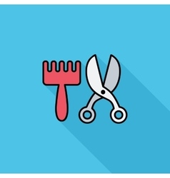 Scissors and comb vector