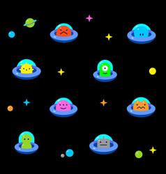 baby ufo aliens cartoon black background pattern vector image vector image