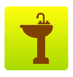 Bathroom sink sign brown icon at green vector