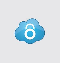 Blue cloud lock icon vector image