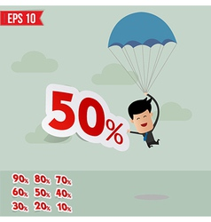 Business man drop down with parachute and percent vector