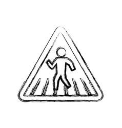 Caution sign crosswalking pedestrian vector