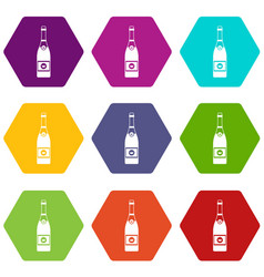 champagne icon set color hexahedron vector image