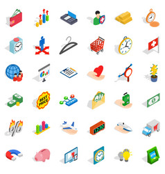 Checkout icons set isometric style vector