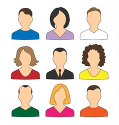 Collection of colored icons avatars people for web vector image vector image
