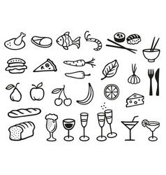 collection with 27 different food and drink vector image vector image