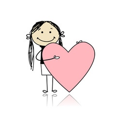 Cute girl with valentine heart place for your text vector