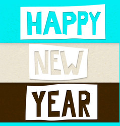 cutout happy new year vector image