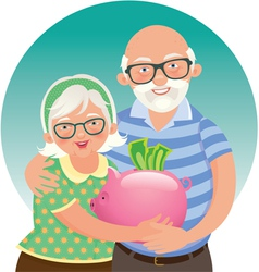 Elderly couple retired vector