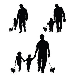 family with dog set silhouette in black vector image vector image