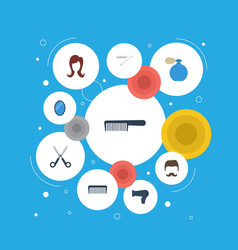 Flat icons deodorant comb moustache and other vector