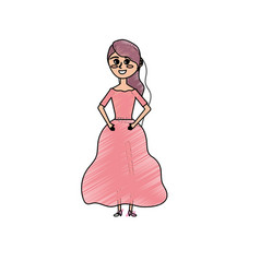Happy woman with hairstyle and elegant gown vector