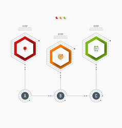 infographics template 3 options with hexagon vector image vector image