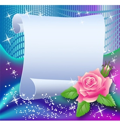 Magic background with paper and rose vector image vector image