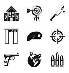 Mobster icons set simple style vector