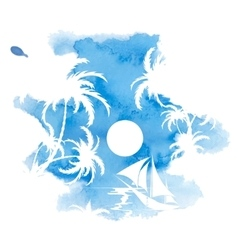 Palm trees watercolor background vector image vector image