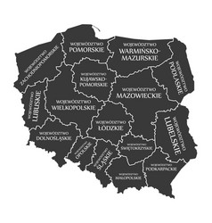 poland map labelled black in polish language vector image vector image