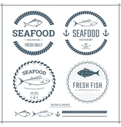 Seafood labels vector image vector image