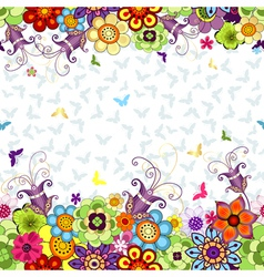 Seamless white floral spring pattern vector