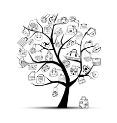 shopping bags on tree vector image