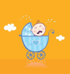 Small boy crying in pram vector
