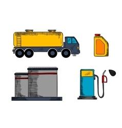 Storage transportation and filling station vector