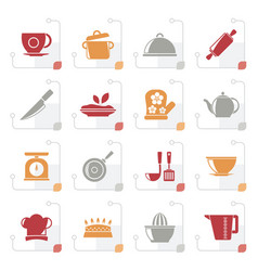 Stylized restaurant and kitchen items icons vector