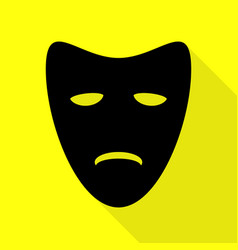 Tragedy theatrical masks black icon with flat vector