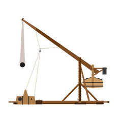 Trebuchet catapult war medieval siege weapon wood vector