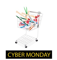 Various craft tools in cyber monday shopping cart vector