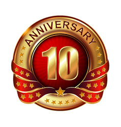 10 anniversary golden label with ribbon vector image