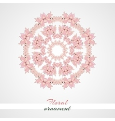 Round ornament pink flowers vector