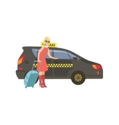 Woman With Suitcase Entering Black Taxi Car vector image