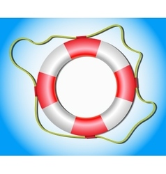 Lifebuoy with rope on blue background vector