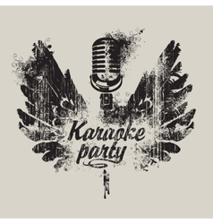karaoke party with a microphone and wings vector image