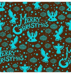 Christmas seamless background with angels vector