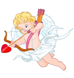 Cupid with bow and arrow aiming at someone valenti vector