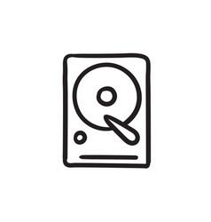 Hard disk sketch icon vector
