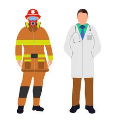fireman and doctor cartoon icon service 911 vector image