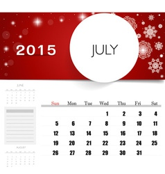 2015 calendar monthly calendar template for july vector