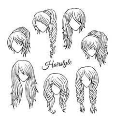 Hair styles sketch set vector