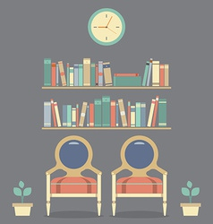 Flat design interior vintage chairs and bookshelf vector