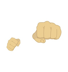 Man fists in fight stance vector