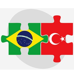 Brazil and turkey flags in puzzle isolated vector