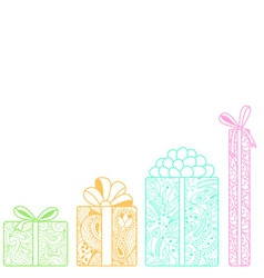 Bright gift boxes bottom on white background vector