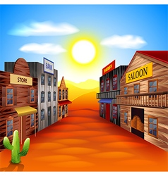 Wild west town background vector