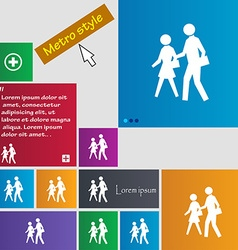 Crosswalk icon sign buttons modern interface vector